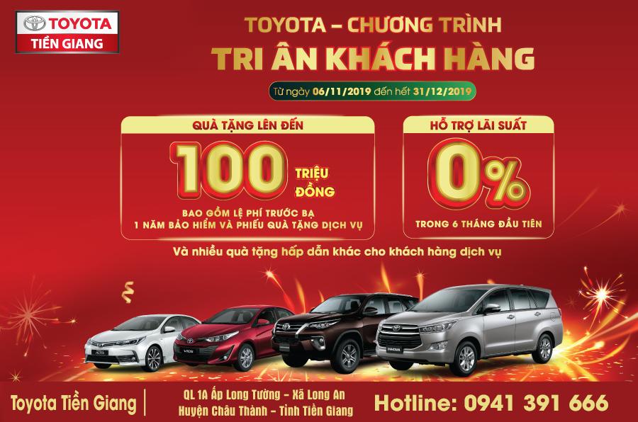 """Toyota Tiền Giang thông báo chương trình """"Tri ân khách hàng"""" tháng 11 và 12/2019"""
